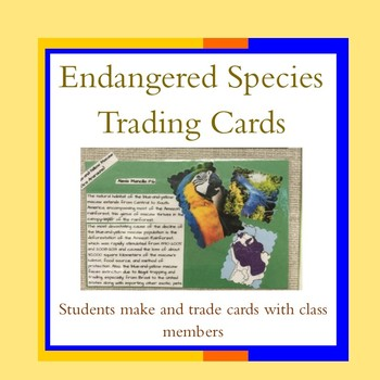 Endangered Species Trading Cards-distance learning