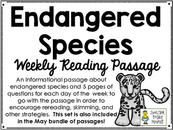 Endangered Species - Weekly Reading Passage and Questions