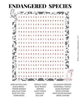 Endangered Species Wordsearch Worksheet