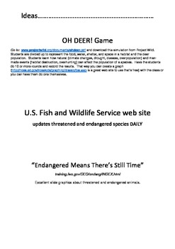 Endangered / Threatened Notes, Activities, and Flip Book