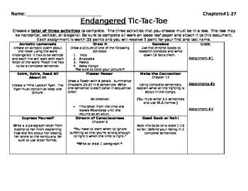 Endangered Tic Tac Toe Board - Differentiation