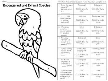 Endangered and Extinct Species Color-By-Number