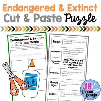 Endangered and Extinct Species Cut and Paste Puzzle
