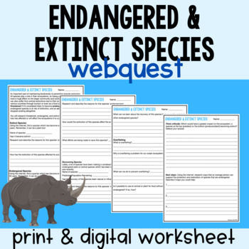 Endangered and Extinct Species Web Activity