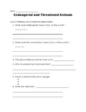 Endangered and Threatened Animals WebQuest PebbleGo