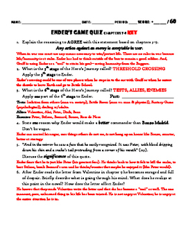 Ender's Game: Chapters 7-9 QUIZ