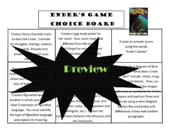 Ender's Game Choice Board Tic Tac Toe Novel Activities Menu Assessment Project