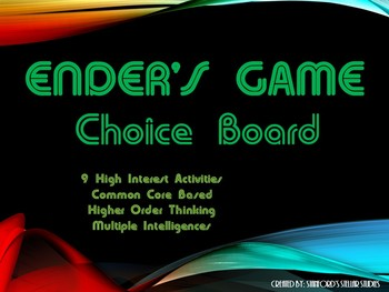 Ender's Game Choice Board Tic Tac Toe Novel Activities Ass