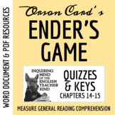 Ender's Game Quiz & Key - Chapters 14-15 (Word Doc, Google Doc & PDF)