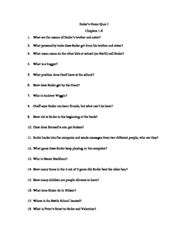 Ender's Game Quizzes