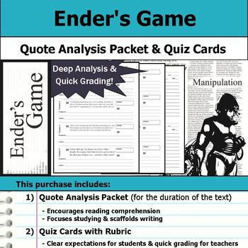 Ender's Game - Quote Analysis & Reading Quizzes