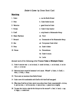 Ender's Game Reading Check Test/Quiz