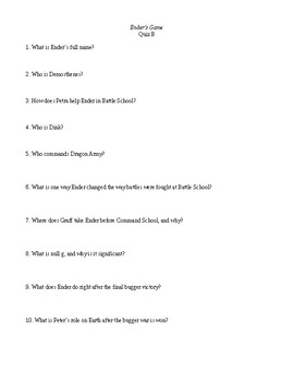 Ender's Game Reading Comprehension Questions