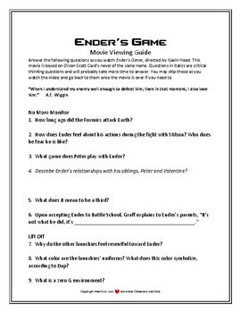 Ender's Game Video Viewing Guide