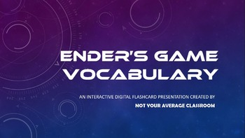 Ender's Game Vocabulary FREE Digital Flashcards EDITABLE