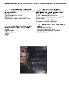 Ender's Game by Orson Scott Card Chapter(s) 4-5 Pg 34-50 Worksheet/Assessment