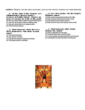 Ender's Game by Orson Scott Card Chapter(s) 5-6 Pg 50-68 Worksheet/Assessment
