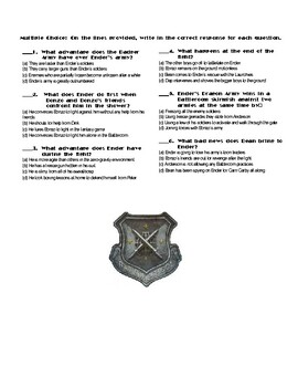 Ender's Game by Orson Scott Card Chapter(s) Chp 12  pg Pg 203-223 Worksheet