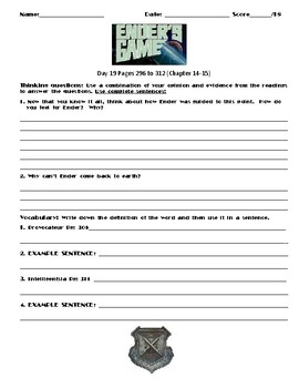 Ender's Game by Orson Scott Card Chapter(s) Chp 14-15 Pg 296-312 Worksheet