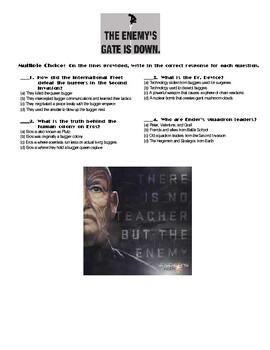 Ender's Game by Orson Scott Card Chapter(s) Chp 14 Pg 267-281 Worksheet
