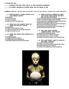 Ender's Game by Orson Scott Card Chapter(s) Chp 15 Pg 312-324 Worksheet