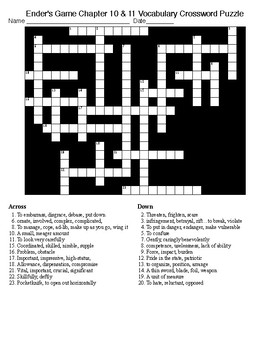 Ender's Game Ch 10 & 11 Vocabulary Crossword Puzzle and KEY