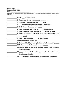 Ender's Game Ch 3 Study Guide/Scavenger Hunt and KEY