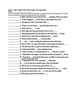 Ender's Game Ch 8 Study Guide/Scavenger Hunt & KEY