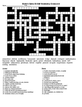 Ender's Game Ch 8 & 9 Vocabulary Crossword and KEY