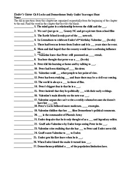 Ender's Game Ch 9 Study Guide/Scavenger Hunt and KEY