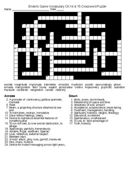 Enders Game Chapter 14 15 Vocabulary Crossword Puzzle And KEY