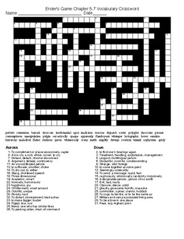 Ender's Game Chapter 5-7 Vocab Crossword and KEY
