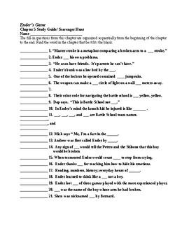 Ender's Game Chapter 5 Study Guide/Scavenger Hunt & KEY