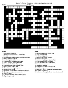 Ender's Game Chapters 1-4 Vocabulary Crossword and KEY