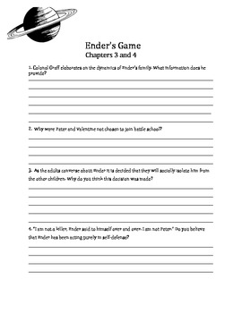 Ender's Game - Discussion and Chapter Questions, Final Writing Prompts