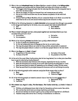 Ender's Game In-Depth but Easy to Assess Matching and Multiple Choice Test