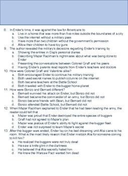 Ender's Game Multiple Choice Exam