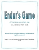 Ender's Game Novel Unit