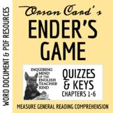 Ender's Game Quiz & Key -Chapters 1-6 (Word Doc, Google Doc & PDF)