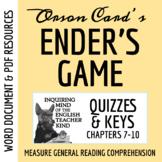 Ender's Game Quiz & Key - Chapters 7-10 (Word Doc, Google Doc & PDF)