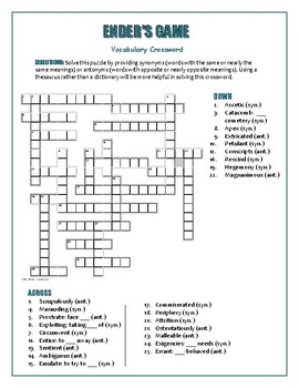 Ender's Game: Synonym/Antonym Crossword—Use with Bookmarks Plus!
