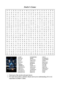 Enders Game - Word Search Puzzle (Vocabulary)