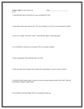 Ender's Game, by O.S. Card, Comprehension Questions