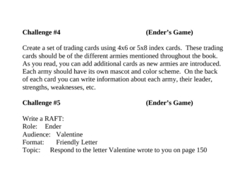 Ender's Game, by O.S. Card, Project Challenges