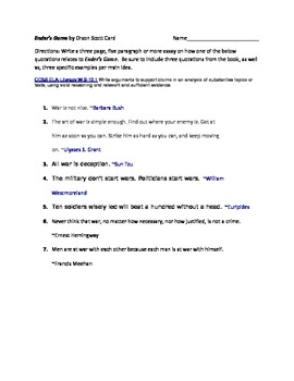 Ender's Game by Orson Scott Card Test and Essay