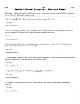 Ender's Game by Orson Scott Card Vocabulary Unit Plan