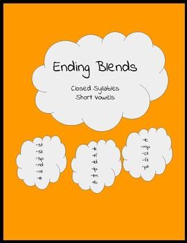 Ending Blend/Flashcard/Orton-Gillingham Reading/word cards