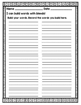 Ending Blend Word Building Cards- Differentiated Literacy Center
