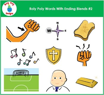 Ending Blends #2 Phonics Clip Art By Roly Poly Designs