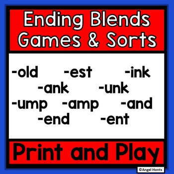 Ending Consonant Blends Card Games and Sorts